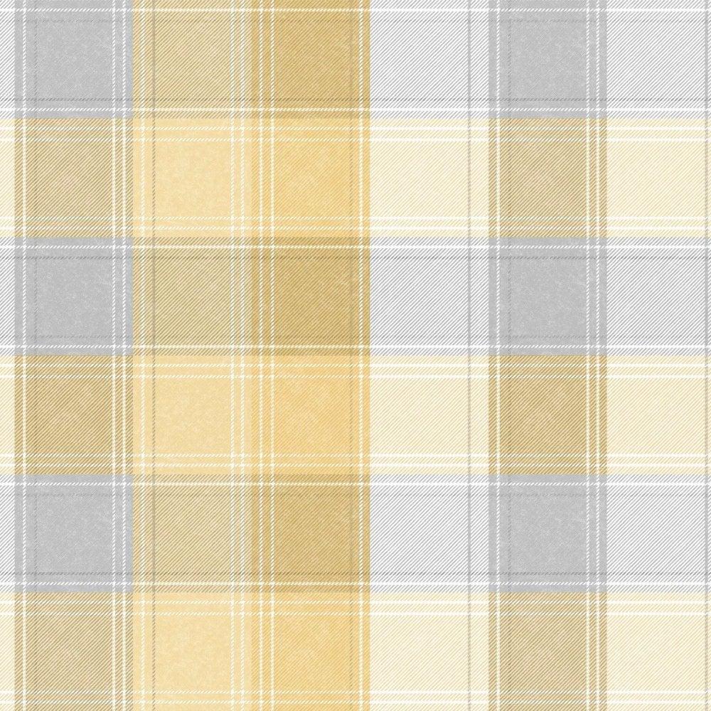 Arthouse Country Check Ochre Yellow Amp Grey Tartan