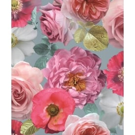 Country Garden Floral Teal And Pink Roses Wallpaper 259600