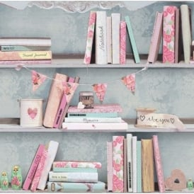 Curious Chic Bookcase Book Shelf Pink Wallpaper 694000