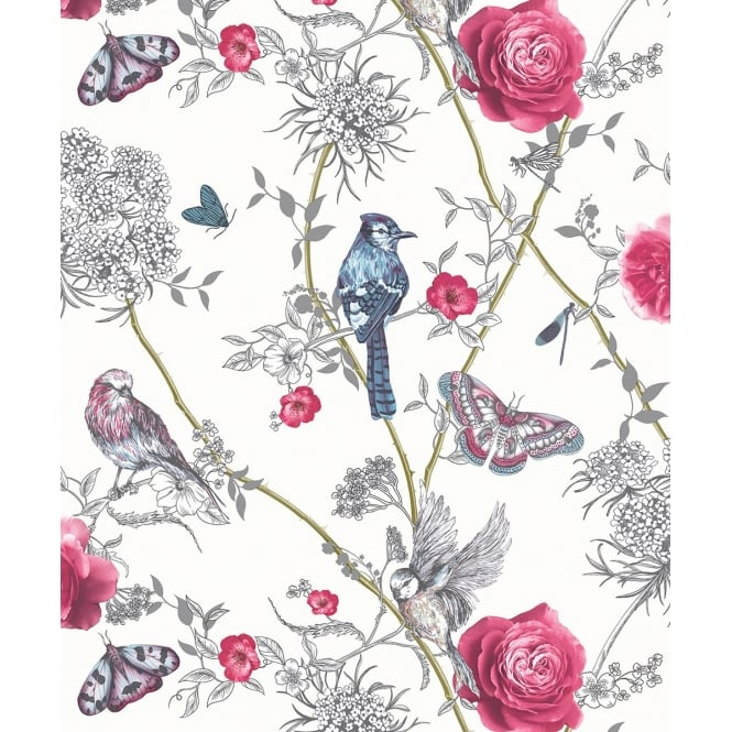 Arthouse Fantasia Paradise Garden Birds And Butterflies Floral Glitter Wallpaper 692405