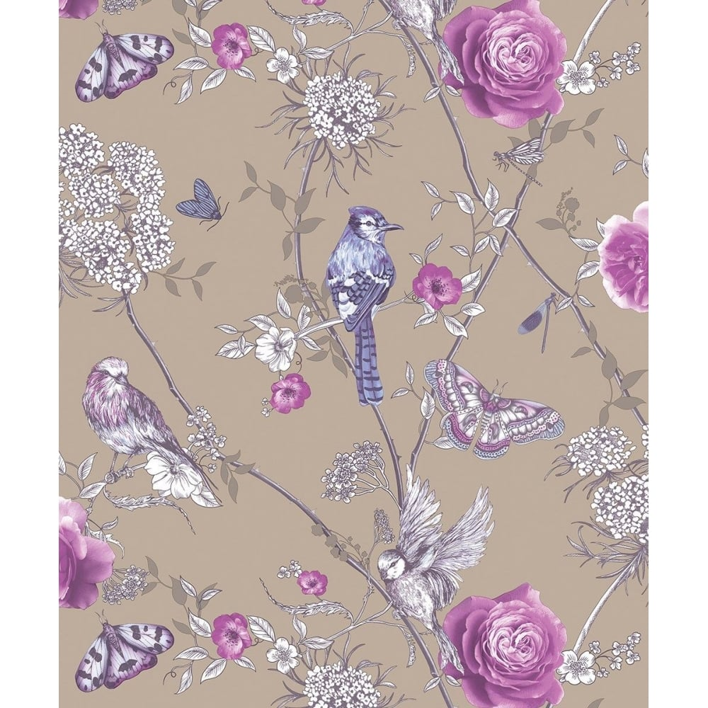 arthouse fantasia paradise garden mink and purple birds and