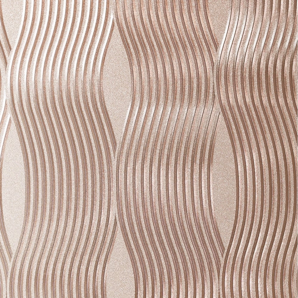 Arthouse Foil Wave Rose Gold Metallic Wallpaper 294500