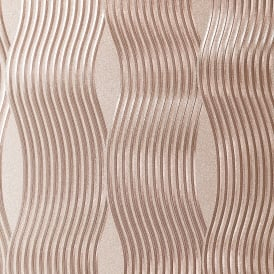 Foil Wave Rose Gold Metallic Wallpaper 294500