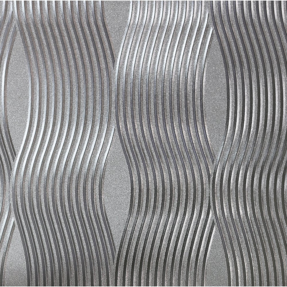 Arthouse Foil Wave Silver Metallic Wallpaper 294501