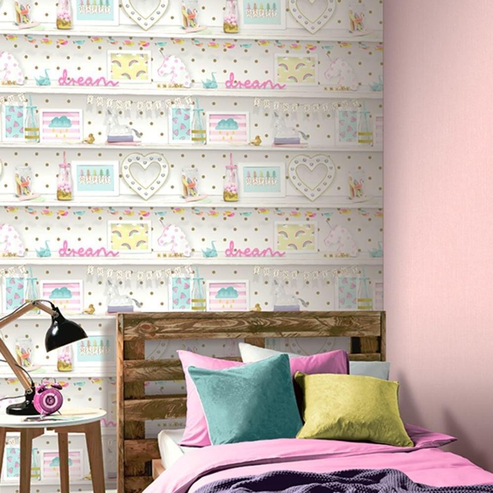 Arthouse Girls Life Bookshelf Polka Dot Heart Unicorn Glitter Wallpaper 696004