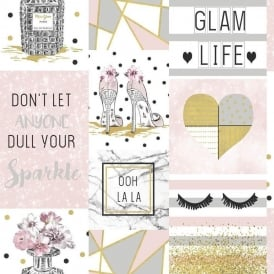 Arthouse Glam Life Pink Gold & Silver Glitter Chic Wallpaper 699402