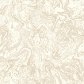 Liquid Marble Swirl Effect Cream Wallpaper 693602