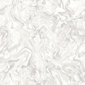 Liquid Marble Swirl Effect White Wallpaper 693603