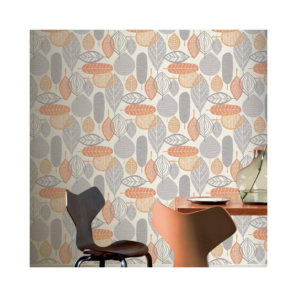 Malmo Ochre Retro Grey Amp Orange Leaf Wallpaper 9023001