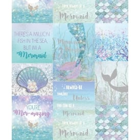 Mermaid Glitter Mermazing Ice Blue Shells Typography Collage Wallpaper 698304