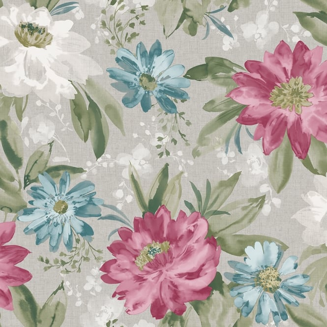Arthouse Painted Dahlia Floral Raspberry Wallpaper 676107