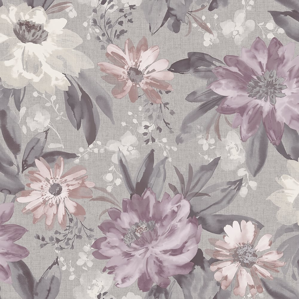 Arthouse Painted Dahlia Heather Floral Grey And Purple ...
