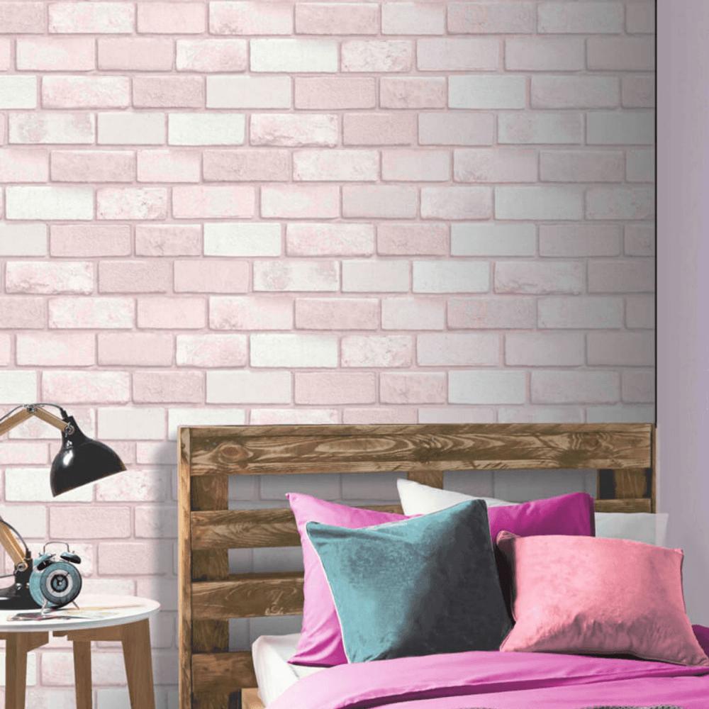 Pastel Pink Diamond Brick Glitter Wallpaper 260005