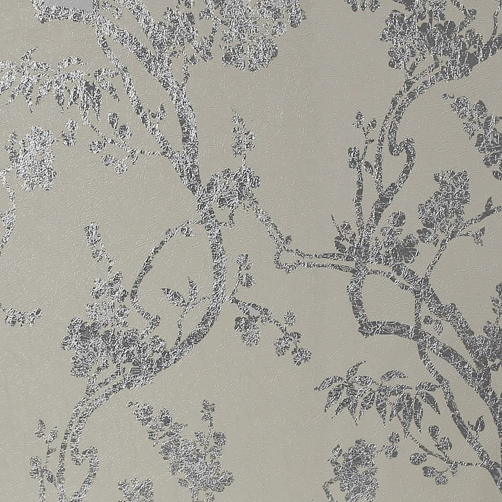 Sundown Soft Silver Floral Foil Wallpaper 901802
