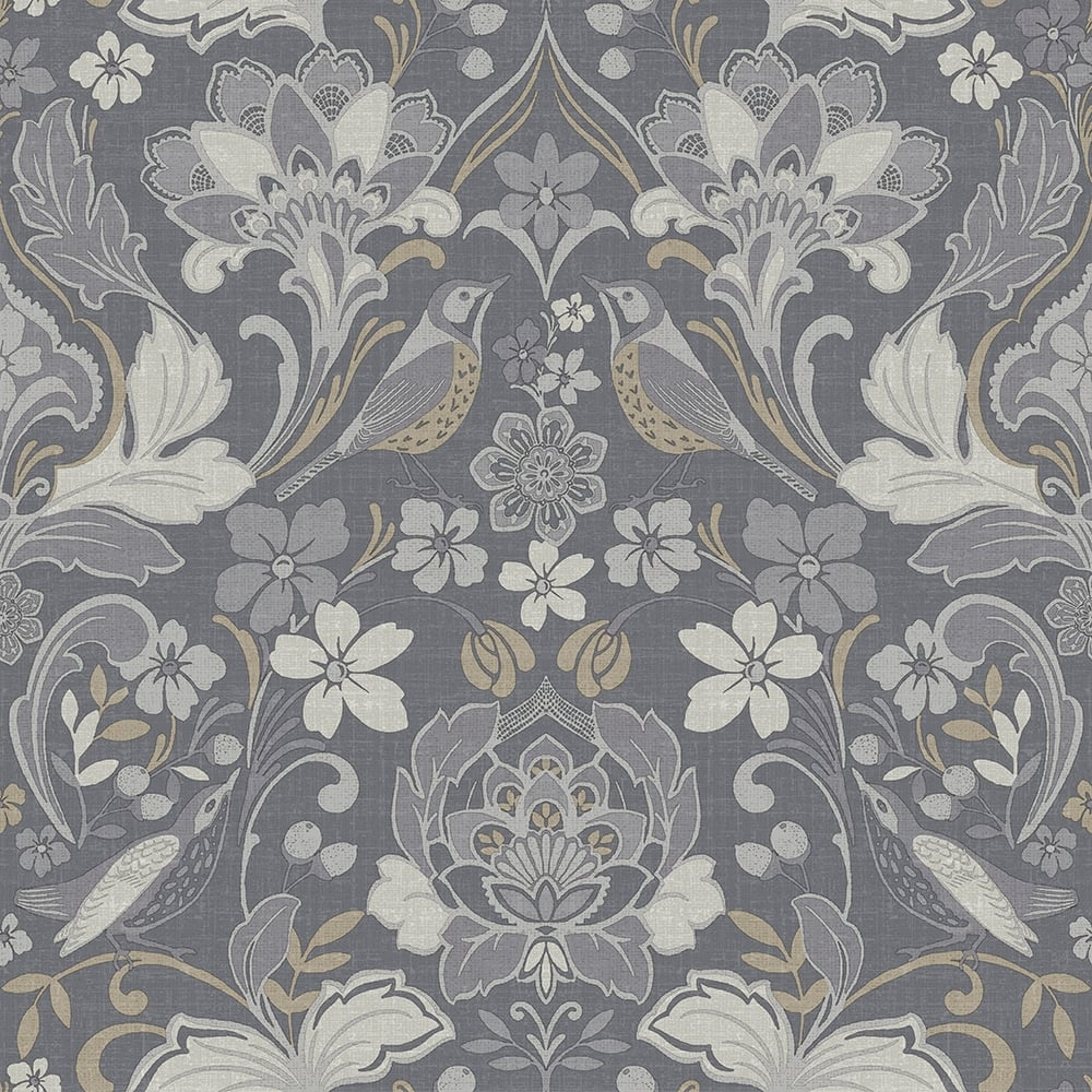 Traditional Folk Floral Damask Grey Wallpaper 676003