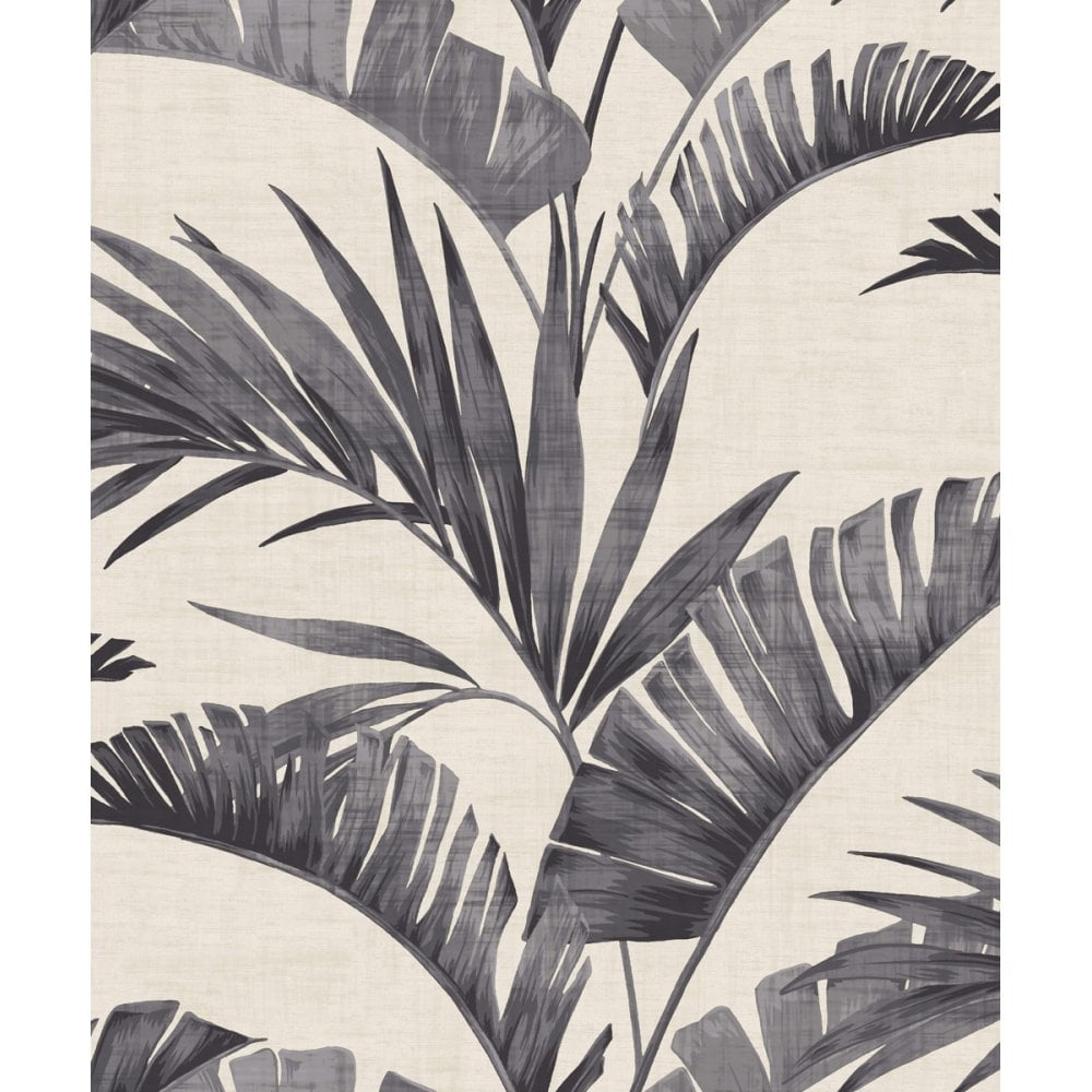 Arthouse Tropical Banana Leaf Palm Tree Charcoal Wallpaper
