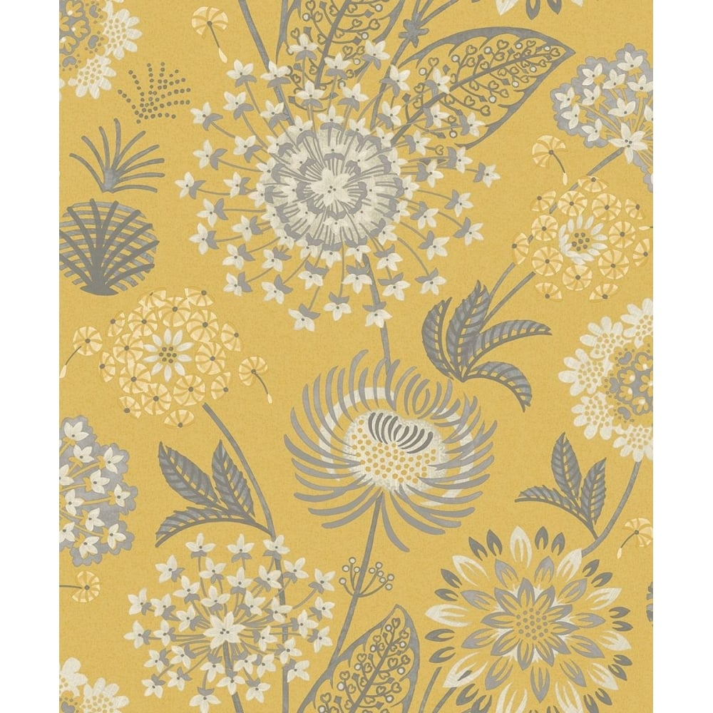 Arthouse Vintage Bloom Floral Mustard Yellow And Grey Wallpaper