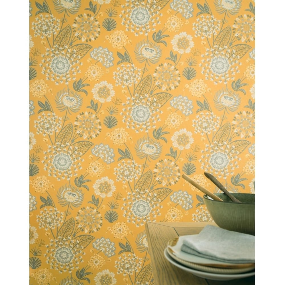 Arthouse Vintage Bloom Floral Mustard Yellow And Grey Wallpaper 676206 Uncategorised From Wallpaper Depot Uk