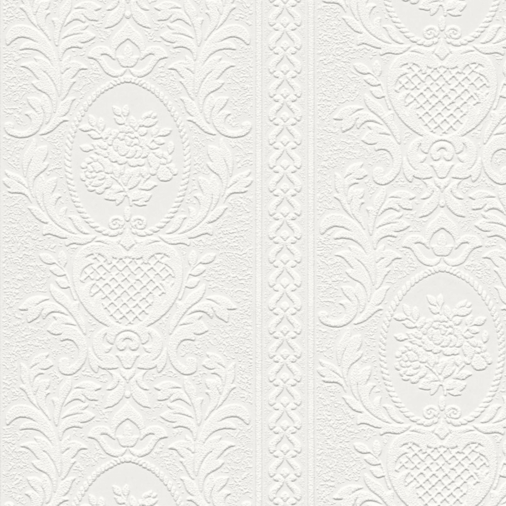 Anaglypta White Blown Paintable Embossed Wallpaper 2616 18