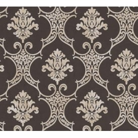 Baroque Black And Beige Damask Wallpaper 32830-6