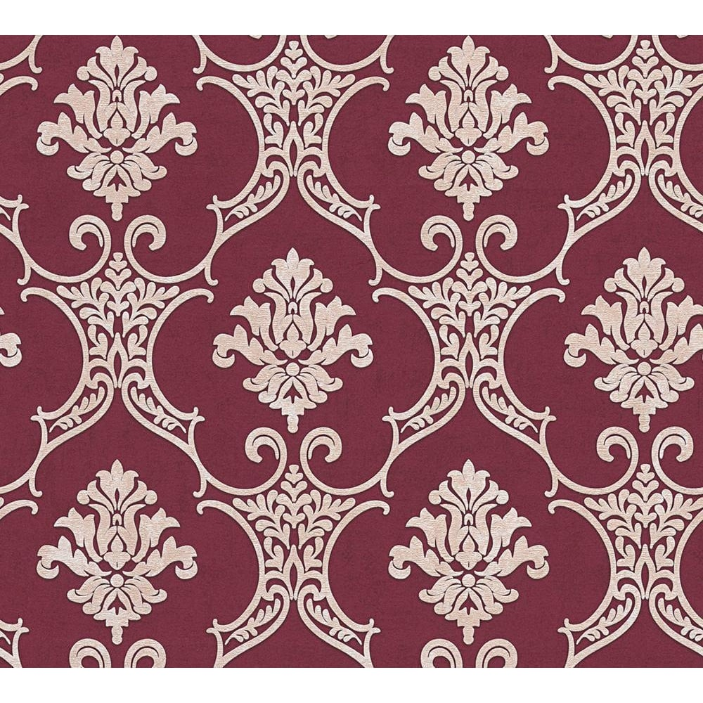 As Creation Baroque Maroon And Beige Damask Wallpaper