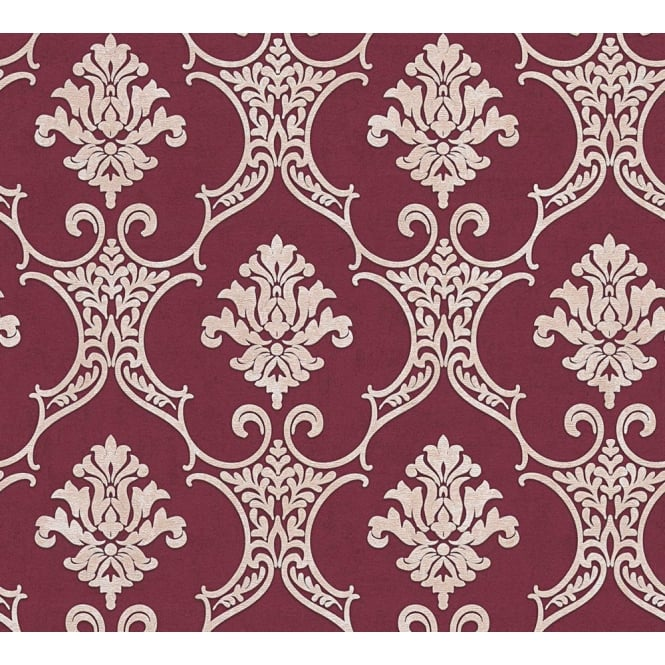 AS Creation Baroque Maroon And Beige Damask Wallpaper 32830-5