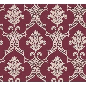 Baroque Maroon And Beige Damask Wallpaper 32830-5