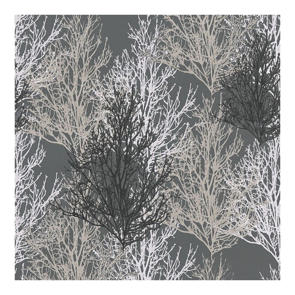 AS Creation Black And Silver Glitter Tree Wallpaper 34819-4 ...