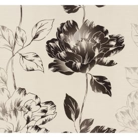 Black Floral Leaf Flower Motif Wallpaper 95881-1