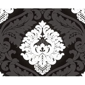 Bling Bling Black And White Glitter Damask Wallpaper 3139-59