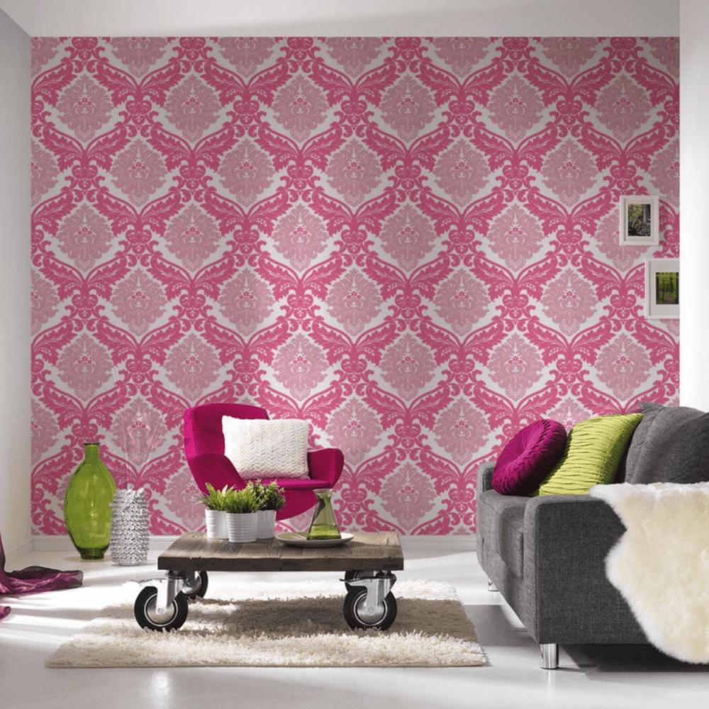 Bling Bling Pink And White Glitter Damask Wallpaper 3139 35