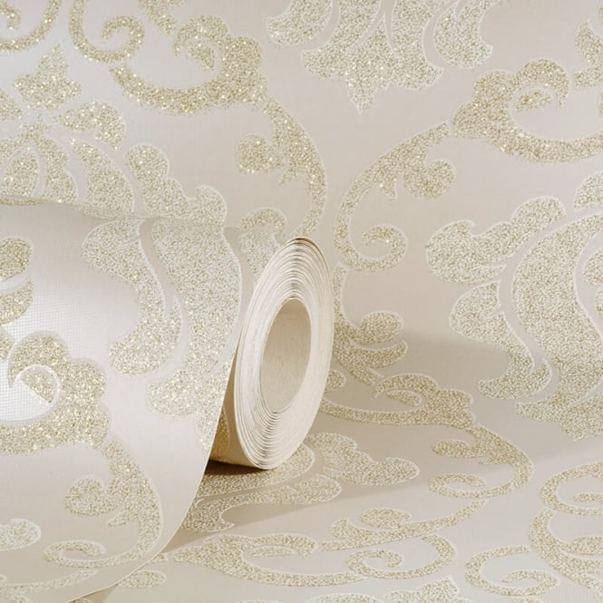 AS Creation Omega Damask Cream And Beige Glitter Wallpaper 34860-1