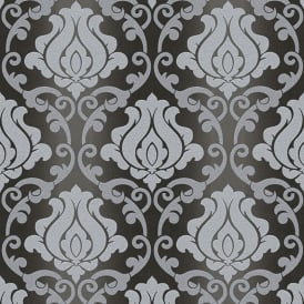 Omega Damask Glitter Black And Grey Wallpaper 34860-4