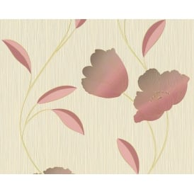 Red And Cream Floral Wallpaper 9186-11