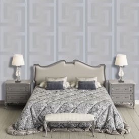 Versace Greek Key Silver Luxury Top Quality Branded Wallpaper 93523-5