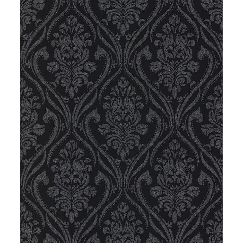 Blenheim Black And Silver Damask Glitter Wallpaper 4953
