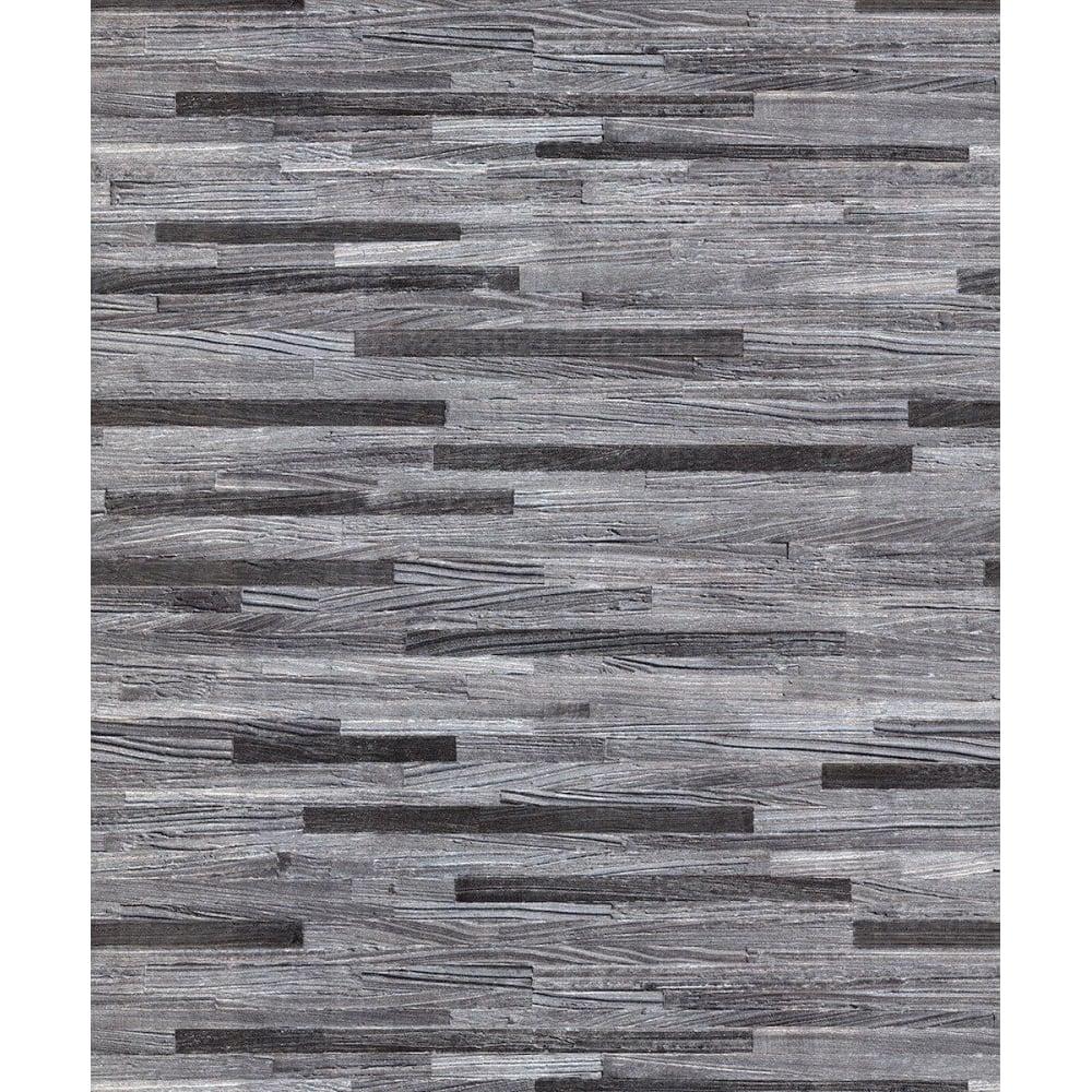 Belgravia Seriano Milana Charcoal Grey Wood Grain Metallic Wallpaper 6803