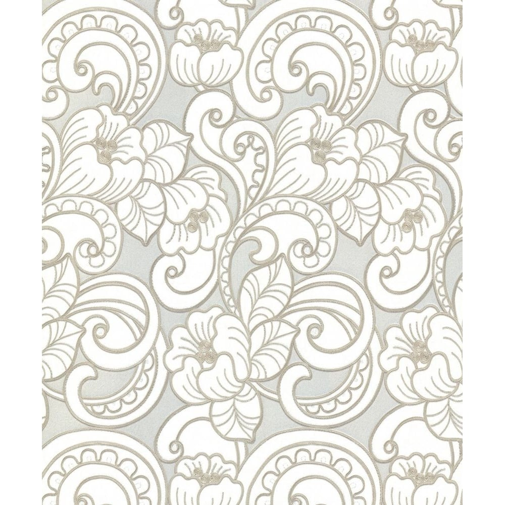 Belgravia Seriano Pale Silver White And Gold Floral Trieste