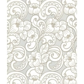 Seriano Pale Silver White And Gold Floral Trieste Wallpaper 2143