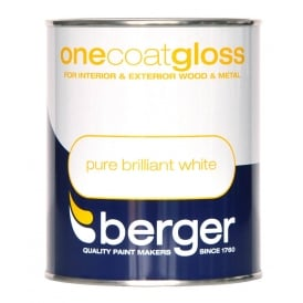 Berger One Coat Gloss Pure Brilliant White Paint 750ml