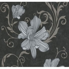 Carat Floral Black And Copper Wallpaper 13344-20