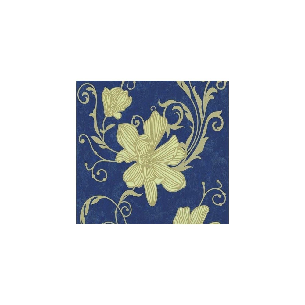 Carat Floral Blue And Gold Glitter Wallpaper 13344 40