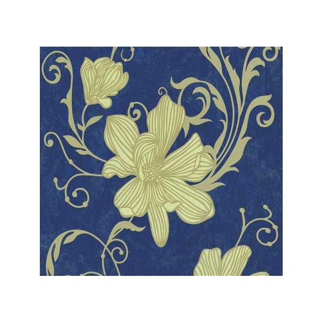 Carat Floral Blue And Gold Glitter Wallpaper 13344-40
