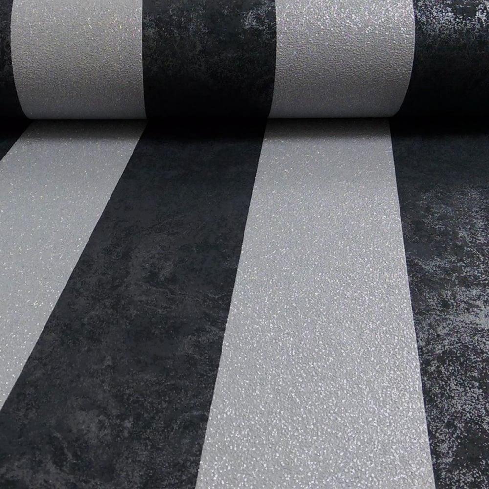 Coleman Bros Carat Black And Silver Stripe Glitter Wallpaper 13346