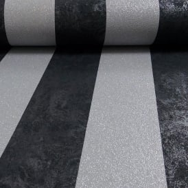 Carat Black And Silver Stripe Glitter Wallpaper 13346-40