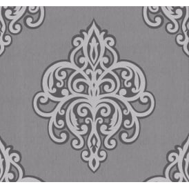 Opal Grey And Silver Damask Glitter Wallpaper 02491-40