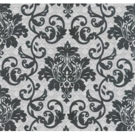 Silver And Black Damask Ornament Wallpaper 13519-60