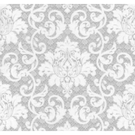 Silver And White Damask Ornament Wallpaper 13519-50