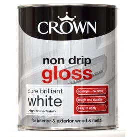 Crown 750ml Non Drip Gloss Paint Brilliant White
