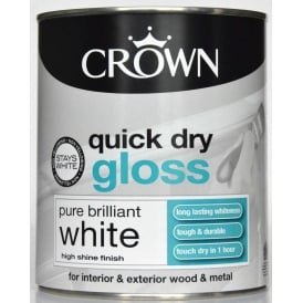 Crown 750ml Quick Dry Gloss Paint Brilliant White